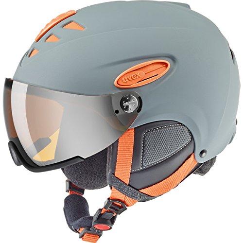 *Uvex Unisex Erwachsene HLMT 300 visor Skihelm, Grey-Orange Mat*