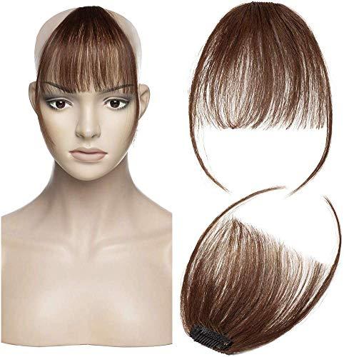 Air Pony Haarteil Echthaar Mittelbraun #4 Clip in pony - Extensions Echthaar Haarteil Haarverlängerung mit Tempel Ein Stück 3g