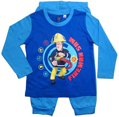 Feuerwehrmann Sam Schlafanzug Jungen Lang Pyjama (Blau, 92-98)