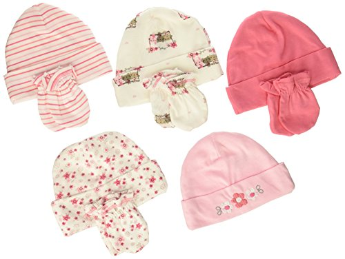 Gerber Baby Girls - Pack de 5 Gorras y 4 Pares de Manoplas, Little Flowers, Cap 0-6M, Mitten 0-3M