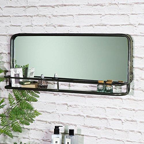 Melody Maison - Espejo con estante (75 x 30 x 12 cm), color gris