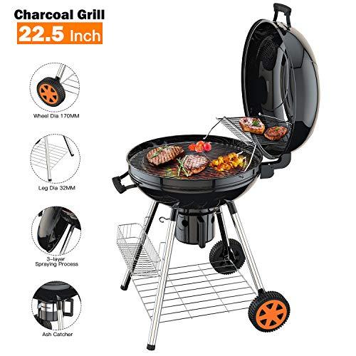 TACKLIFE Barbecue à Charbon BBQ de Bois, Portable Double Grill, Étagère de Rangement, Collecteur...