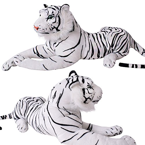 TE-Trend Plüschtier weißer Tiger Kuscheltier Stofftiger lebensechte Raubkatze liegend Dschungel Steppe 80 cm weiß schwarz getigert