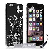 Yousave Accessories® de Flores y Mariposas con Mini lápiz Capacitivo para iPhone 6 Plus - Negro/Plateado