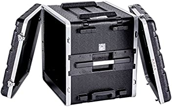 Professional Fly Drive Case 10u Space ABS Molded Tough Durable Interior and Exterior Case 19-Inch Amplifier for Equalizer or DJ Effects Unit with Pull Out Handle & Wheels- DEEJAY LED TBH10UABSWHEELS