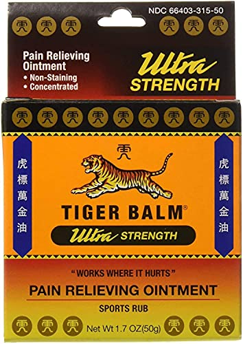 Tiger Balm Pain Relieving Ointment, Sports Ultra, 50g – Professional Size – Sports Rub Ultra Strength –...