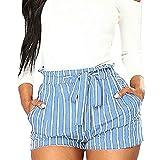 Longzjhd Femmes Short Stripe Impression Poche Bandage Taille Haute Facile Élastique Pantalon Court Casual Short Chino Short de Plage pour Femme, Short d'été décontracté, Taille élastique Large