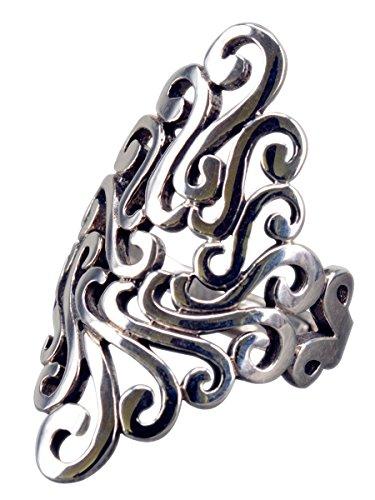 NicoWerk, Anello in argento 925, etnico Vintage, regolabile, da donna, in argento Sterling SRI208