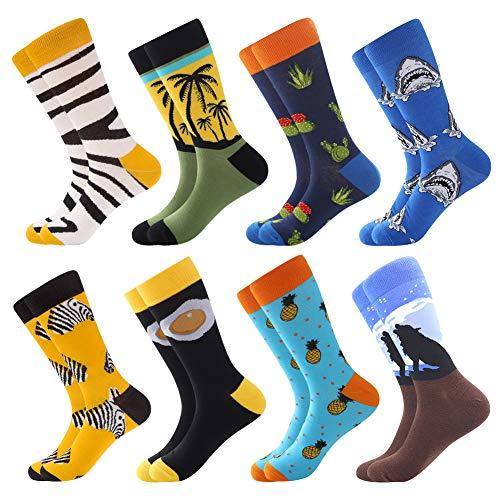 Herren Bunte Lustige Socken, Herren witzige Strümpfe, Fun Gemusterte Muster Socken, Verrückte Socken Modische Mehrfarbig Klassisch als Geschenk, Neuheit Sneaker Crew Socken (8 Paar-Pineapple3)