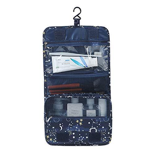 ZJZ Toilettas Vrouwen Waterdicht, Band Ophanghaak Draagbare Make-up Comestic Organiser Opvouwbare Travel Wash Bag Idee voor Mannen Vrouwen Reizigers Op lange afstand Drivers met Multi Pockets (Navy Blue)