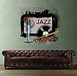 STICKERSFORLIFE cik311 Full Color Wall Decal Jazz mikrafon Plastic Pipe Living Room Bedroom bar