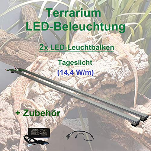 Aquarium-Plüderhausen Terrarium LED Beleuchtung Wüsten Reptilien Pflanzen LED 40 cm Set2 Leuchtbalken
