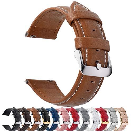 Fullmosa 12 Farben Uhrenarmband 18mm, Axus Serie Lederarmband Ersatz-Watch Armband mit Edelstahl Metall Schließe für Herren Damen 14/16/18/20/22/24mm,Braun 18mm