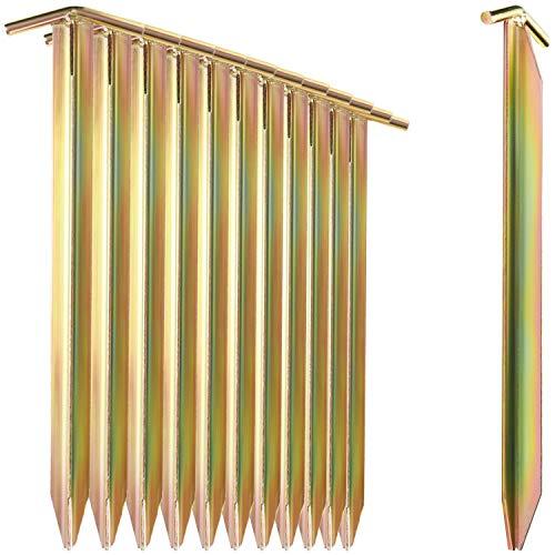 com-four 12x Clavijas para Carpas Fabricadas en Acero - Carpas largas y robustas con Perfil en T para Acampar y en Exteriores - Ideal para terrenos Normales y Duros