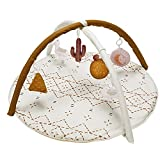 Baby Play Mat, Macrame Activity Gym Stage-Based Developmental Baby Play Gym and Playmats for Newborn with 6 Featured Toys Washable