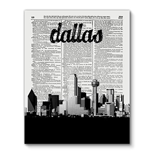 Dallas Texas Skyline with City Name, Vintage Dictionary Art Print Reproduction Contemporary Wall Art For Home Decor, Modern Boho Art Print Poster, Country Farmhouse Wall Decor 11x14 Inches, Unframed