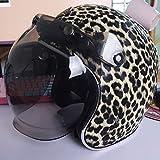 LALEO PU Cuero Personalidad Cool Estampado Leopardo Retro Harley Casco Moto Abierto con Escudo Burbuja, Desmontable Transpirable Hombres y Mujeres, ECE Certificado S-XXXL (55-65cm),Lightyellow,S
