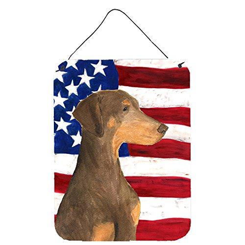 Caroline 's Treasures ss4058ds1216USA Amerikanische Flagge mit Rottweiler, Aluminium Metall Wand oder Tür Aufhängen Prints, 40,6x 30,5cm Multicolor