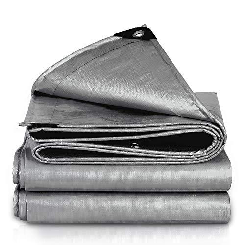 Afdekzeil, waterdicht, buiten, van kunststof, zonnedak, sterk 12x18ft-4x6m zilver.