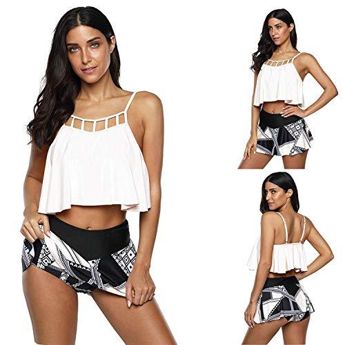 BSbattle 2020 - Conjunto de bikini de gran tamaño para mujer con volantes y falda estampada, talla grande XL-5XL, traje de baño sexy para mujer - Blanco - Medium