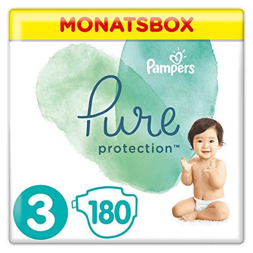 Pampers Pure Protection Windeln, Gr. 3, 6kg-10kg, Monatsbox (1 x 180 Windeln)