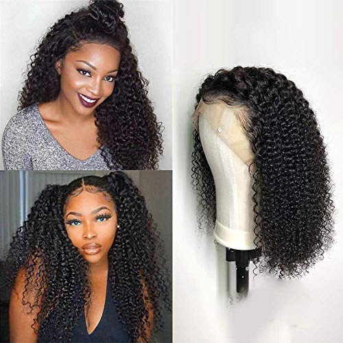 TOOCCI Lace Frontal Wig Cap Braids Wig Human Short Bob Afro Kinky Curl Perruque Bresilienne Cheveux Naturels Brésilienne Natural Hair Wigs (12 pouce)