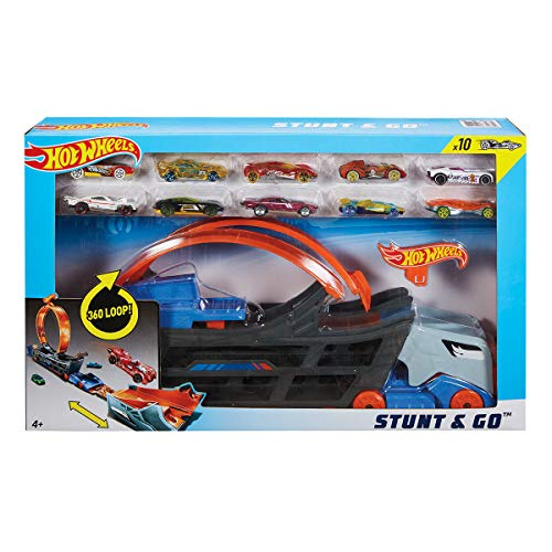 Hot Wheels Stunt & Go Hauler Camión de Transporte + 10 Coches
