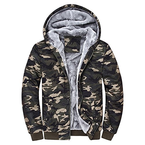 Toimothcn Mens Faux Fur Lined Coat Winter Warm Fleece Hood Zipper Sweatshirt Jacket Outwear (Multicolor,XXXXL)