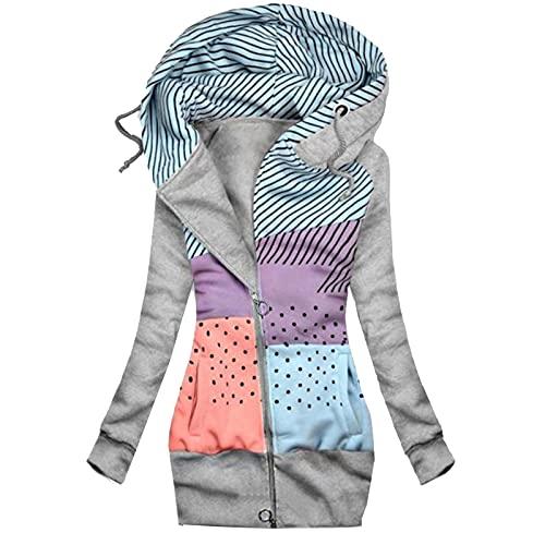 AllinKlei Sudadera con capucha para mujer, de otoño, de manga larga, tallas grandes, vintage, para adolescentes y niñas, gris, S