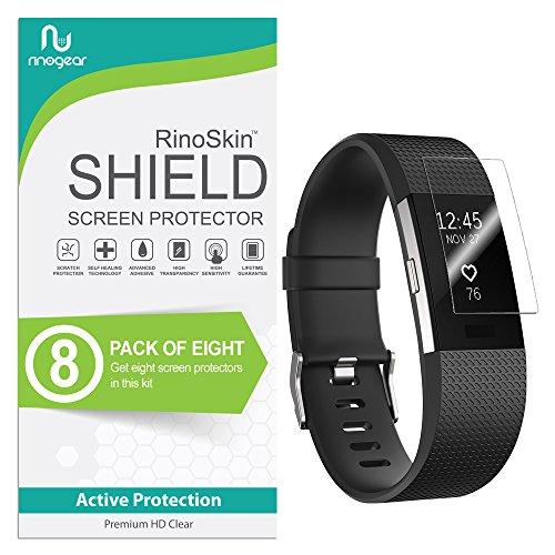 (8-Pack) RinoGear Screen Protector for Fitbit Charge 2 Case Friendly Fitbit Charge 2 Screen Protector Accessory Full Coverage Clear Film