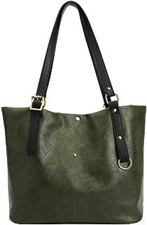 GLJJQMY Women's Handbag Retro PU Oil Wax Leather Shoulder Bag Top Handle Outdoor Satchel 36x15x30cm Hand Bag (Color : Green)