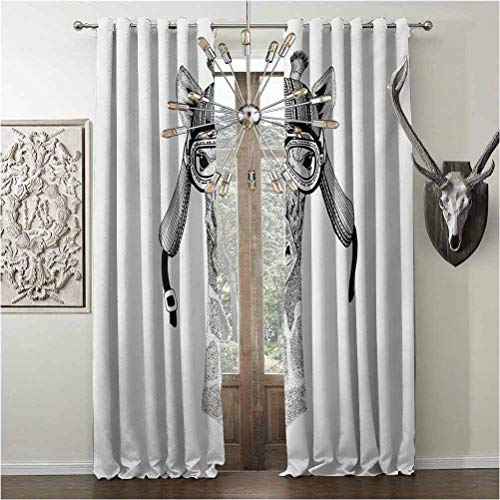 Window curtains, Giraffe, thermal insulated soundproof curtain, Vintage Motorcycle Helmet Wearing Animal Monochrome Retro Influenced Character, W84 x L108 Inch, Black White, grommets valances,