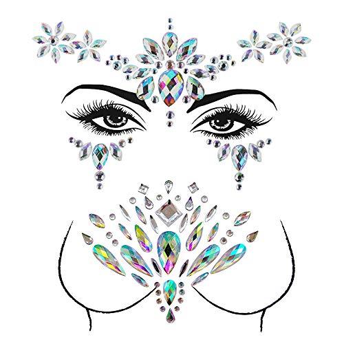 LINVINC Face Gems Stickers - Tatuajes Temporales Pegatinas, Rhinestone Glitter Cara Pegatinas para la fiesta del festival (Pattern 3)
