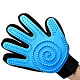 HEIGOO Dog Grooming Glove,Cat Brush Glove with Adjustable Strap,Use for Pet with Long or Short Fur,Blue