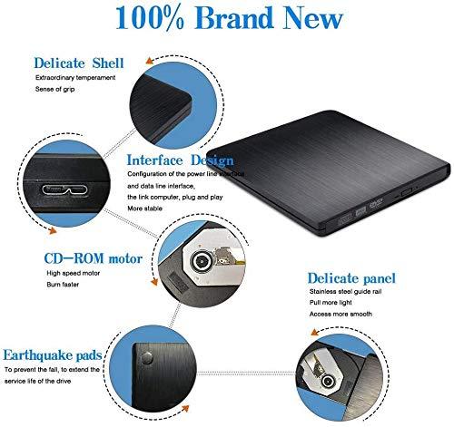 Externes CD DVD Laufwerk, elloLife Portable Slim CD/DVD-RW Brenner für alle Laptops/Desktop,Plug&Play/Niedriger Lärm Kompatibel mit Win10/XP/Win 7/Win 8, Laptop, Mac, MacBook Air/Pro