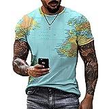 Camiseta Hombre con Impresión Digital 3D Patrón Único Creativo para Hombre Cuello Redondo Manga Corta Vacaciones Verano Ocio Correr Deporte Camisa Deportiva Hombre A-001 4XL