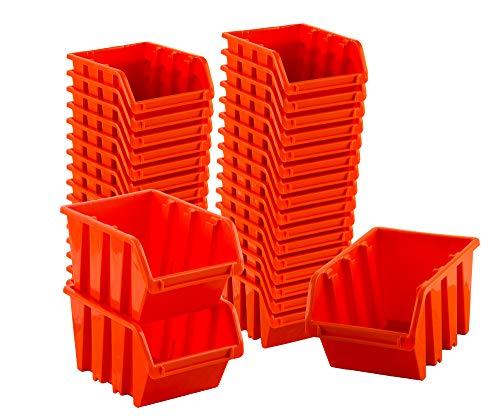 BigDean Sichtlagerboxen Set 33 Stück Orange Größe 2 15,5x10x7 cm - nestbar & stapelbar - Ordnungssystem für Werkstatt, Keller & Garage