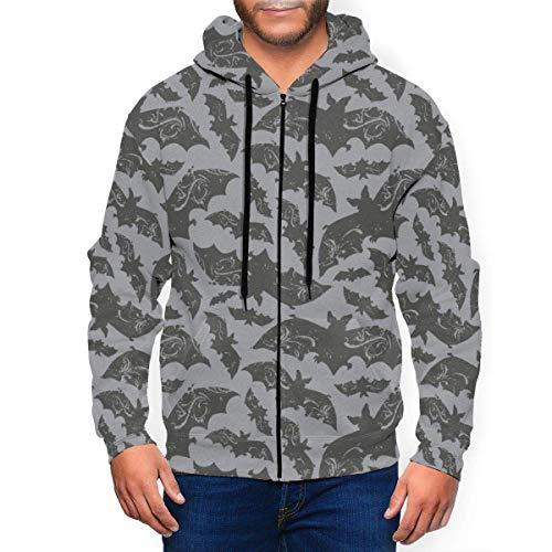New Halloween Bats Mens Hooded Sweatshirts Zipper Casual Hoodie Jacket XXXL Black