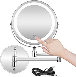 BRIGHTINWD 5X LED Wall Mounted Makeup Mirror with Dimmable Lights Stainless Steel Magnifying Wall Bathroom Mirror Touch Screen/USB & AAA Batteries Double Source