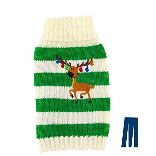 Mikayoo Pet Sweater for Small Dog/Cat, Ugly Sweater, Colour Horizontal Stripes, Christmas Holiday Xmas, Elk Series, Reindeer Series, with Bells, Green, M