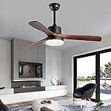LED Ventilador de techo con lámpara funciona silencioso Aspas de ventilador de madera maciza Adecuado para cocina, salón y dormitorio (Negro, 52 pulgadas (control remoto))