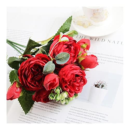 WEINBQ 1 Bundled SILD Peony ROUTQUE Decoración De La Casa Accesorios De Decoración De Boda Libro De Recuerdos Scrapbook Fake Plant Artificial Rose Flowers (Color : Red)