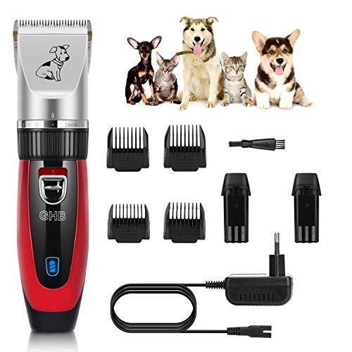 GHB Tosatrice Cani Professionale Tosatrice Animali Tosatrice Elettrica con 4 Pettini per Cani Gatti Animali ECC - Rosso