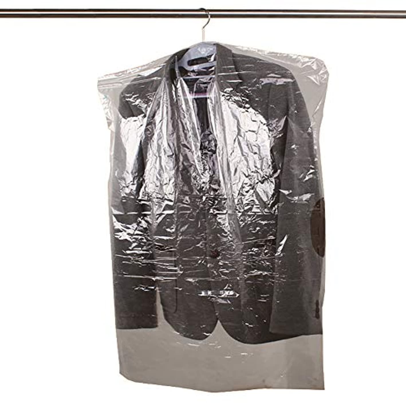 50 Packs Disposable Clear Garment Bags Dry Cleaning Laundrette Polythylene Garment Clothes Cover Protector Bags CYFC322 S: 23.6