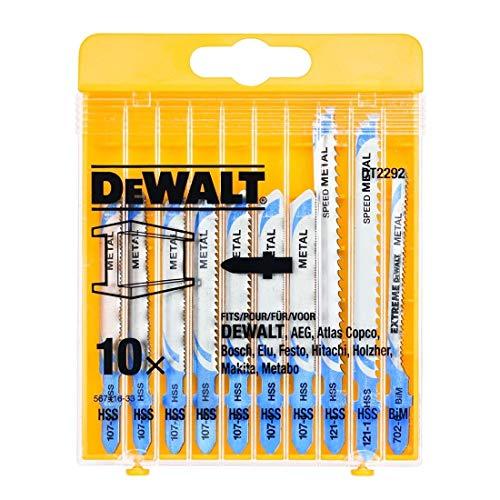 Dewalt DT2292-QZ DT2292-QZ-Juego de 10 hojas de sierra calar para metal DT2160 x 3, DT2172, DT2054 x 1, DT2161, DT2163 x 2 (Equivalentes Bosch T118A, T118G, T118EOF, T118B, T127D), 0 W, 0 V