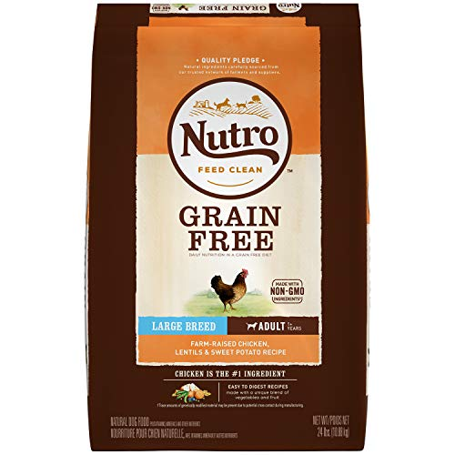 NUTRO GRAIN FREE Adult Large Breed Natural Dry Dog Food Farm-Raised Chicken, Lentils and Sweet Potato, 24 lb. Bag