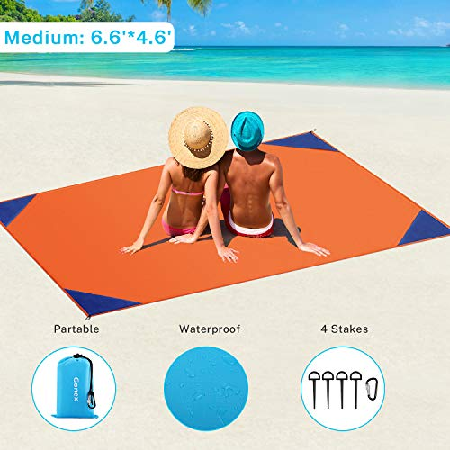 """Gonex Sand Proof Beach Blanket, Waterproof Sand Free Compact Beach Mat Lightweight with Carry Pouch, Stakes, Carabiner for Outdoor, Orange 78""""x55"""""""