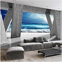 Lcymt 壁画の壁紙 現代の石柱海波風景壁紙壁壁画リビングルームダイニングルーム壁の装飾-200X140Cm