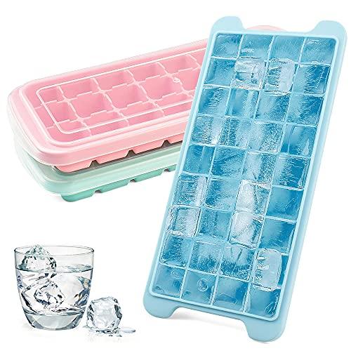Eiswürfelform 3er Pack Eiswürfel Form, Silikon Eiswürfelform mit Deckel, BPA Frei Ice Cube Tray 84 Zellen Eiswürfel Silikon , Hygienisch und FDA Zertifizierte Eiswürfelformen
