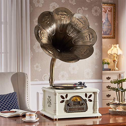 New Vintage Bluetooth Speaker Retro Horn Turntable Bluetooth Vinyl Record Player Turntable Copper Tr...